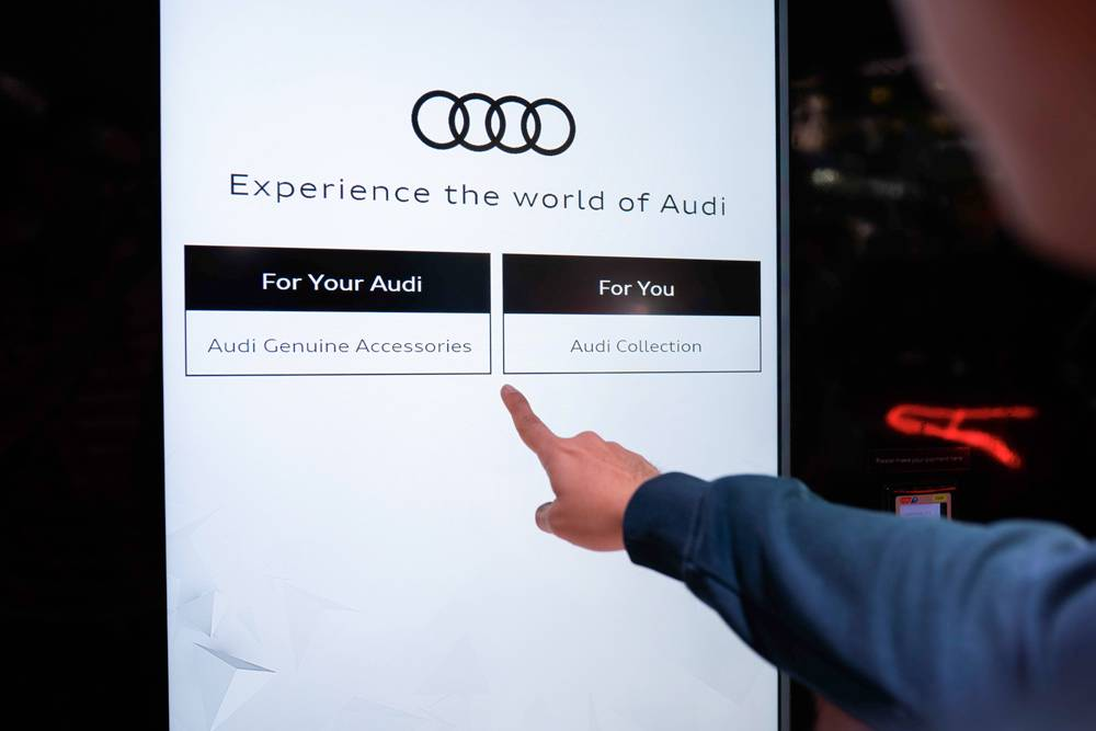 commercial message on a screen for Audi